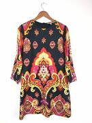 See By 60s Style Shift Multi Psychedelic Boho Mirror Print Dress 10uk 6us