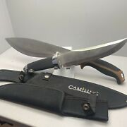 """Lot Of 2 Large Fixed Blade Knives Camillus Frost 16"""" 14"""" With Sheath Cases Steel"""