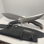Lot Of 2 Large Fixed Blade Knives Camillus Frost 16andrdquo 14andrdquo With Sheath Cases Steel