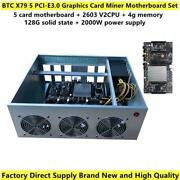 Brand New Btc X79 Miner Motherboard 5 Pci-e3.0 Graphics Card Slot 60mm Distance