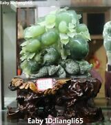 Natural Green Jade Hand Carving Fengshui Magpie Birds Peanut Apple Fruit Statue