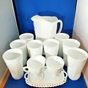 Colony Harvest Grape Milk Glass Set Pitcher, 8 Tumblers, And 3pc Cream And Sugar