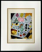 Hand Signed Henri Matisse - 75 Year Old Vintage Print 16x20 In Mat Frame Ready