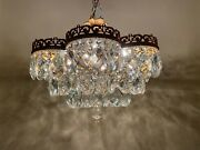 Antique French Chandelier Rare Crystal Vintage Chandelier Low Ceiling Lamp