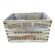 Early Castle Rock Spring Beverages Wooden Crate Box Wood Saugus Mass