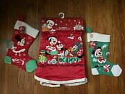 Lot Of 3 Disney Mickey And Minnie Christmas Tree Skirt And 2 Stockings Nwt