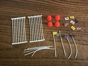 Tyco Ho Slot Car Track Guard Rail Flags And Traffic Cones