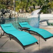 3 Piece Patio Chaise Lounge Set Including Cushions - Modern Outdoor Furniture -