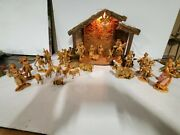 Vintage Lot Of Fontanini Nativity - Included 30 Pieces Stable Mary Joseph Baby