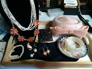 Vintage Jewelry Lot With Antique Hat Lot C