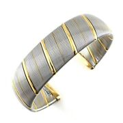 Auth Bangle Twist 75018k Yellow Gold Stainless Steel
