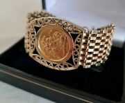 9ct Yellow Gold Open Work Gate Bracelet .london 1979.by Lc .sovereign Dated 1968