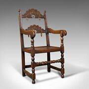 Antique Carved Elbow Chair Oak Side Hall Seat Jacobean Revival Victorian