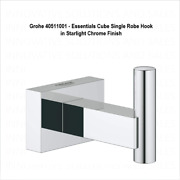 Grohe 40511001 - Essentials Cube Single Robe Hook In Starlight Chrome Finish