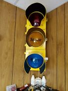 Vintage Crouse Hinds Traffic Signal Stop Light With Visors Electric Wired 110v