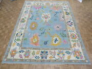 10and0393 X 13and0399 Hand Knotted Light Blue Turkish Knotted Oushak Oriental Rug G11406