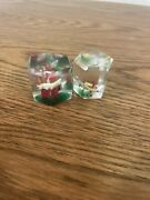 Lot Of 2 Antique Clear Glass Octagonal Shaped Paperweights W/ Fish In Each