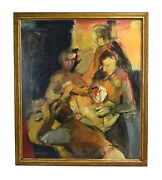 """Carl Schwartz """"the Card Game"""" Midcentury Modern Abstract Oil Painting Chicago"""