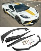 For 20-up Corvette C8 | 5vm Carbon Fiber Front Lip Side Skirts And Rear High Wing