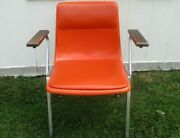 Set Of 4 Stackable Mid Century Modern Thonet Style Chrome Wood Orange Arm Chairs