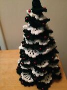 Crochet Christmas Tree Green And White With Red Decorations