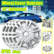 4 Pcs Universal 13and039and039 Wheel Cover Hubcaps Cars Trucks Trailers Polished W