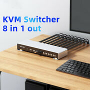 8 In 1 Out Hdmi Kvm 4k 30hz Switcher 4 Usb Mouse Keyboard Pinter With Extender