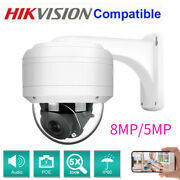 Hikvision Compatible 8mp/5mp Mini Poe Ip Ir Dome Camera Ptz 5x Zoom Built-in Mic