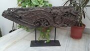 Antique Wooden Carved Panel With Iron Stand Floral Old Plaque Heavy Furniture