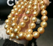 Aaaaa Long 3812-14mm Natural Real South Sea Deep Golden Pearl Necklace 14k Gold