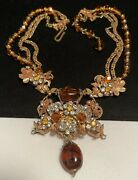 Miriam Haskell Style Signed Robert Rare Vintage Gilt Amber Glass R/s Necklace M1