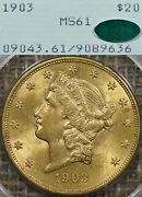 1903 20 Pcgs Ms61 Cac Rattler Gold Liberty Double Eagle - Ogh, Old Green Holder