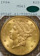 1904 20 Pcgs Ms61 Cac Rattler Gold Liberty Double Eagle - Ogh, Old Green Holder