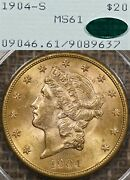 1904-s 20 Pcgs Ms61 Cac Rattler Gold Liberty Double Eagle Ogh Old Green Holder