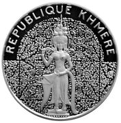 Cambodia Khmer 10000 Riels 1974 Silver Proof And039celestial Dancerand039 Mtg.800