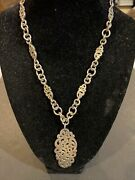 Rare Lois Hill Heavy Sterling Silver Pendant Toggle Necklace