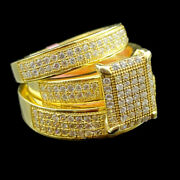 10k Yellow Gold Fn Diamond Trio Ring Sets His Her Wedding Bridal Engagement Ring