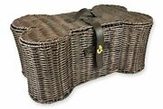 Bone Dry Pet Storage Collection Toy Basket Small Brown Plastic Wicker