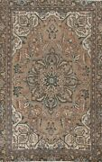 Semi-antique Traditional Oriental Area Rug Evenly Low Pile Hand-knotted 7x10 Ft
