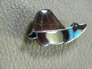 Turquoise Pen Shell, Mother Of Pearl Inlay Turtle Pin/pendant 1-1/2 X 3/4