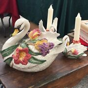 Vintage Fitz And Floyd Swan Soup Tureen With Swan Candle Holders