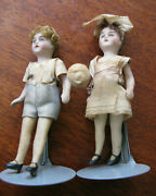 Antique Bisque Dollhouse Jointed Girl + Boy Dolls Original Clothing - 4 Tall
