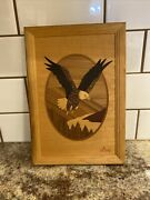Vintage Hudson River Inlay Wood Marquetry Eagle In Flight Signed Nelson Art