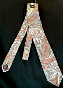 Men's Tie Jack Henry Made In England Paisley Design Rust White Grey And Tan