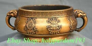 10 Xuande Marked Chinese Bronze 24k Gold Gilt Eight Treasures Beast Head Censer