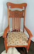 Antique Tiger Oak Wood Rocking Chair With Carved Seasonal Face Tapestry Cushion