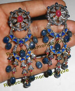 4.54ct Antique Rose Cut Diamond Silver Sapphire Ruby Vintage Design New Earrings