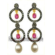 Christmas Sell 2.10ct Antique Rose Cut Diamond Pearl Ruby Vintage Style Earrings