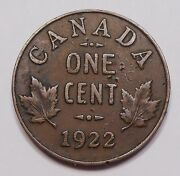 1922 Small Cent Vf Rare Date 3rd Lowest Mintage Key King George V Canada Penny