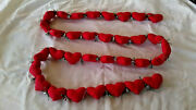 Hand Made Country Christmas Folkart Valentineand039s Primitive Quilted Heart Garland